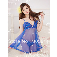 Fashion Ladies Sexy Royal Blue Transparent  Lingerie Sleepwear Set Suspender Skirt + G-String