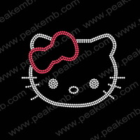 Beauty Hello Kitty Iron On Rhinestone Motif Crystal Transfer Iron On Designs 50Pcs/Lot Free Dhl Shipping
