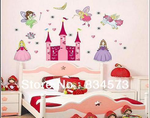 Free shipping Large Fairy Princess Unicorn Castle DIY Decoration Decal Removable Wall Sticker Home Decor Art Kids Nursery Room()