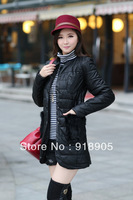 New 2013 Big Size Women's Autumn Winter Cotton-Padded Jacket Wadded Thicken Slim PU Long Parkas Pockets Plus Size BB868