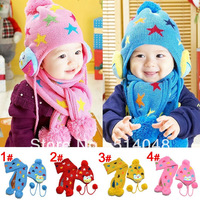 Witer hat Warm Children Wool 4 colors Star Owl Cap Match Scarf ,Cartoon Hat with Scarf(1Set =1 Cap+ 1 Scarf), Free Shipping
