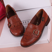 2013 autumn preppy style genuine leather tassel shoes unisex women's flat-bottomed single shoes