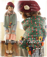 2013 Girls yarn knitted applique vintage scarf , Unique personality