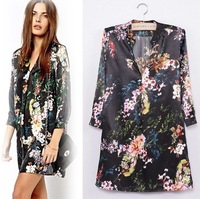 QZ692 New Arrival Ladies' vintage floral print  Dresses sexy  V-neck mini dress three quarter sleeve cascul  party evening dress