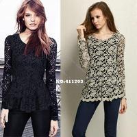 New Fashion Women's Elegent Long Sleeve Hollow Floral Design Lace Sheer T-shirt Peplum Jumper Top Blouse 10169 F