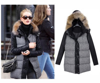 New Arrival European Fashion Winter elegant PU patchwork thicken Houndstooth fur collar wool coat cotton padded jacket WO-116