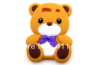Hot Sale + Free Shipping Cute Cartoon Teddy Bear Soft Silicone Rubber Case For Samsung Galaxy S Advance i9070
