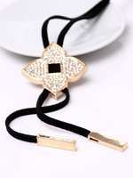 flower pendant necklace, crystal inlay necklace, fashion OL style, long chain necklace, 5 pcs/lot. free shipping