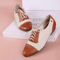 Fashion 2013 women's lacing shoes autumn round toe colorant match