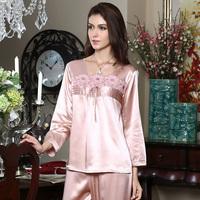 American standard 100 mulberry silk female pure silk sleepwear long-sleeve sleep 220120 lounge set