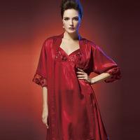American standard autumn and winter female pure silk sleepwear long-sleeve robe nightgown twinset 210094 240123