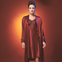 American standard lounge female pure silk elegant sleepwear robe twinset 9210097 9240126