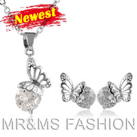 Free Shipping Wholesale Best Gift TOP GRADE Austrian CRYSTAL Butterfly Pendant Necklace Earrings Women Zircon Jewelry Set 131127