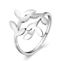 "Wholesale pure silver rings 2013 New#CR1143 Fashion&fine 925 Silver lady finger ring smooth surface ""leaves"" shaped ring"