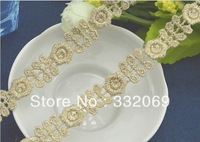10 X DIY Gold Thread Lace Trims Embroidery Flower Embroidered Applique Sewing Craft for Decoration Hot Promotion Free Ship