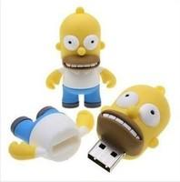 High Quality Fashion Cute Cartoon Simpsons Homer 4GB USB LED Flash 2.0 Memory Drive Stick Pen/Thumb/Car free Ub261 Free Shipping