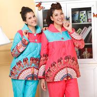 American standard lounge female thermal thickening cotton-padded long-sleeve 36112 sleep set