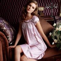 Ansi female summer mulberry silk short-sleeve pure silk sleepwear lounge nightgown home dress 330039