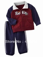 ZZG13112712 Boys red and blue patch  long-sleeved sport suits,kid's cotton sweater sets,zipper coat+soft pants clothes sets