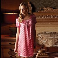 Mulberry silk sleepwear ansi female summer pure silk short-sleeve princess nightgown lounge 330091