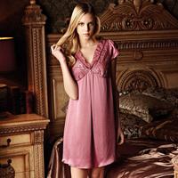 American standard women's pure silk sleepwear short-sleeve mulberry silk ruffle nightgown lounge 230049