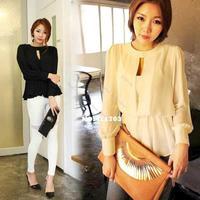 2013 New Sexy Casual Korean Women's Girl Long Sleeve OL Style Blouse Shirt 11164 F