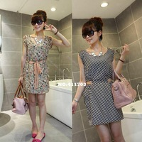 Hot sale New Korean Women Leisure Round Collar Sleeveless Vest Dress Dresses 2Patterns 13784 F