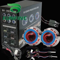Wholesale Price Car Bi-Xenon HID Projector Lens Kit with Double angel eyes and bulb +14months warranty