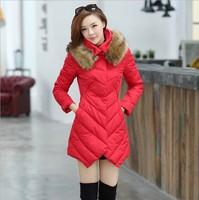 2013 fur collar women's medium-long slim down cotton-padded jacket female outerwear