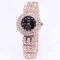 Women rhinestone watches rose gold shiny dress full diamonds designer 100% good quality round quartz fashion girls party gift