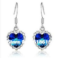 Free Shipping 578CC Platinum Plated The Heart of The Ocean Women's Blue Crystal  Drop Earrings Wholesale