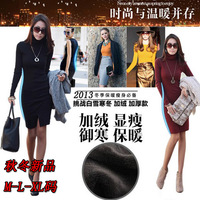 Thickening plus velvet elegant ol plus size clothing turn-down collar long-sleeve basic tight-fitting hip slim one-piece dress