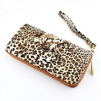 Hot Fashion European style Handbags Money Holder PU Leather Leopard Print Wristlet Clutch
