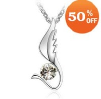 MIN ORDER$10 sale 7 colors wholesale 18k gold plated SZgel wing crystal necklace pendSZt 1041 SZ