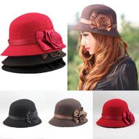 2013 New Autumn and Winter Elegant Women's Fashion Cap Ladies Flower Rose Bucket Hat Women Small Fedoras Hat Cloche Headwear