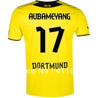 NEW!Bundesliga 13/14,Support Customize Name Number,Dortmund #17 Aubameyang short sleeve home kit,free shipping