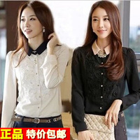 Women's shirt 2013 long-sleeve shirt chiffon shirt female long-sleeve lace shirt female long-sleeve