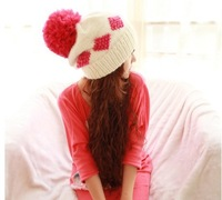 2013 Free Shipping Hot Sale New Style Ears Protected Hat, Square Pattern Thermal Fuzzy Ball Woolen Cap for Autumn and Winter