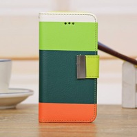Free Shipping  New Fashion Colorful Book Style Trichromatic Pattrent PU Leather Case For iPhone 5C
