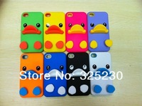 20pc/lot New Arrival Cartoon 3D cute duck Silicon stand Case Cover For iPhone 5 5s with very good retailed package Free Shipping