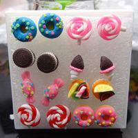 Wholesale very cute student polymer clay stud earrings 40pairs/lot Y001