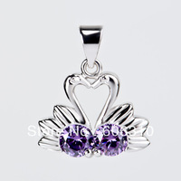 "Free shipping Wholesale CZ Jewelry Pendant 15x18mm NEW 2013 Fashion 1PC 925 sterling silver ""Swan lovers"" Pendant for women"