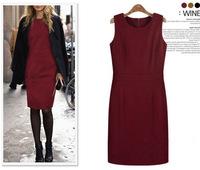new 2013 Winter Women new Fashion European style sleeveless vest skirt dress woolen vest dress black red dark red Warm dresses