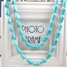 Free shipping Bohemia national trend necklace turquoise necklace peacock green drop chain wholesale(China (Mainland))