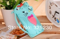 5pcs/lot New Arrival Cartoon 3D cute TOM cat Silicon stand Case Cover For iPhone 4 4s Free Shipping
