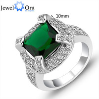 Wholesale pure silver Lady rings 2013 New#CR1203 Fashion&fine 925 Silver Luxury finger ring crystals Emerald green CZ rings