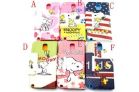 Hot Sale+Free Shipping Cute Cartoon Snoopy PU Leather Back Case For Samsung Galaxy Note3 N9000