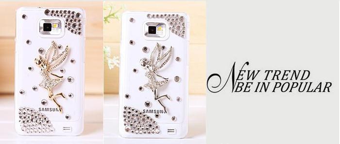 DIY Handmade 3D Angel Flower Bling Diamond Crystal Back Cover Hard Case for Samsung Galaxy SII S2 I9100(China (Mainland))