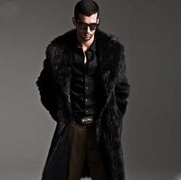 Mens long cheap faux fur coat winter fashion leather jacket with fur hood black coat fur collar and cuffs jackets xxxl FFM004