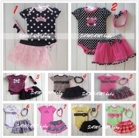 Retail 1set baby girls summer 3pcs clothing sets romper+TUTU skirt+headbands bowknot princess design polka dot/leopard bodysuit